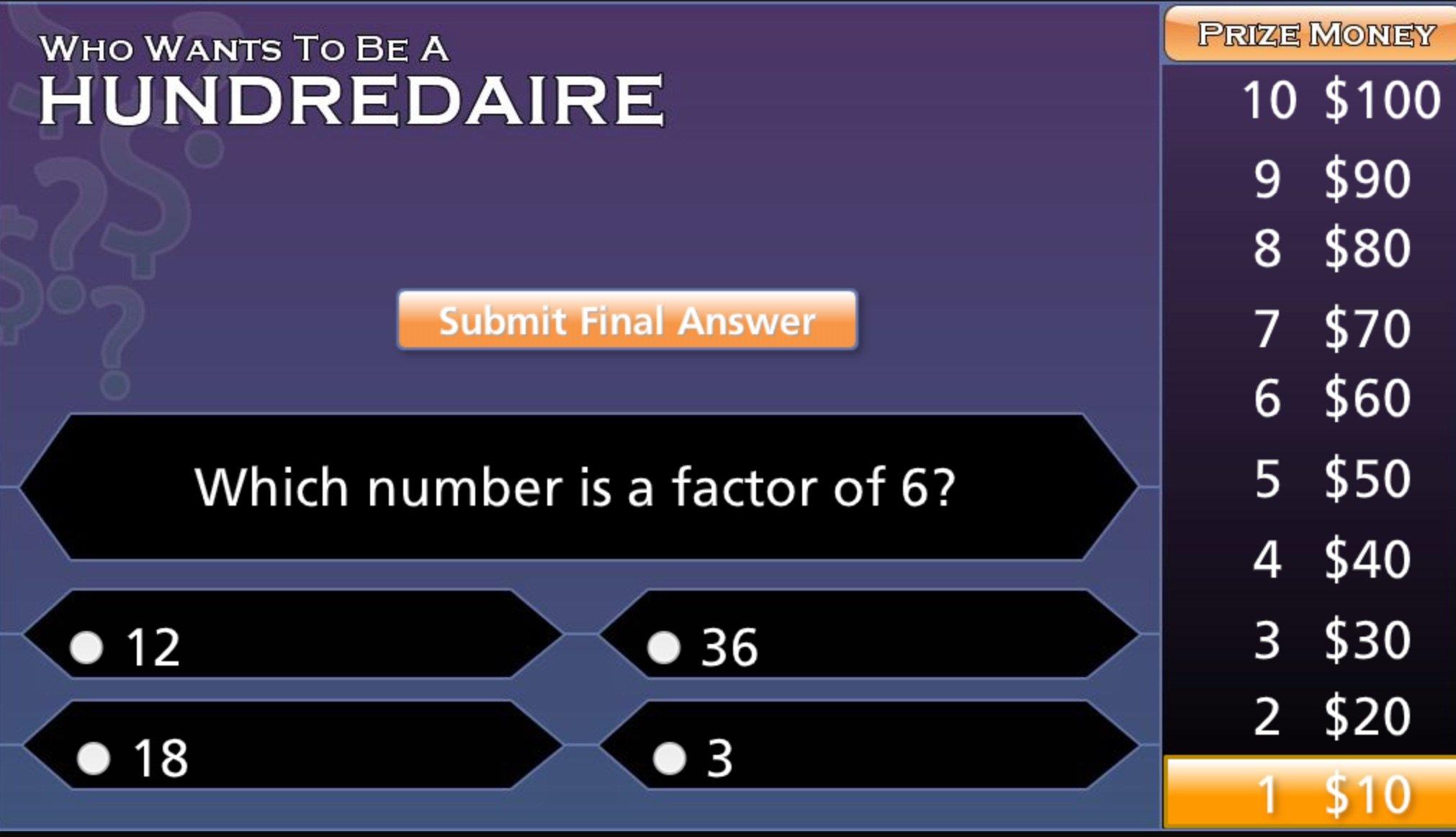 Factors Millionaire Game
