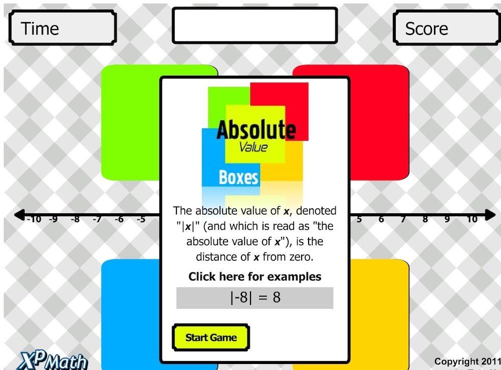 XP Math   Math Games Arcade   Absolute Value Boxes   FREE